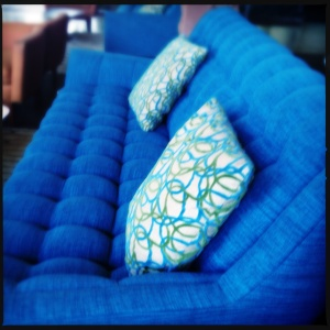 Blue sofa at the Valley Ho