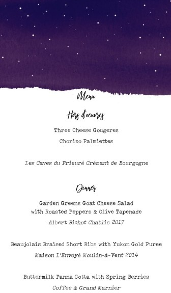 Kindred Table dinner menu for blog