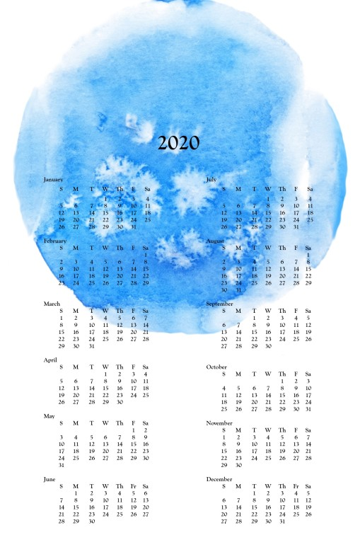 2020 wall calendar -Blue Watercolor
