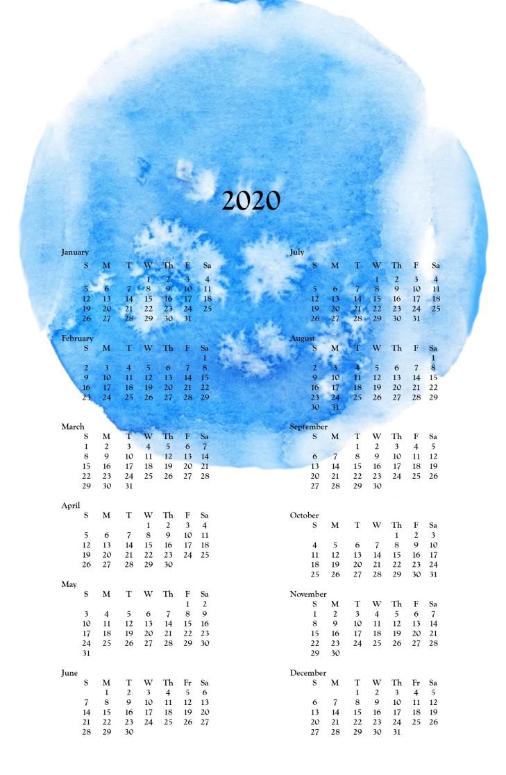 2020 wall calendar -Blue Watercolor