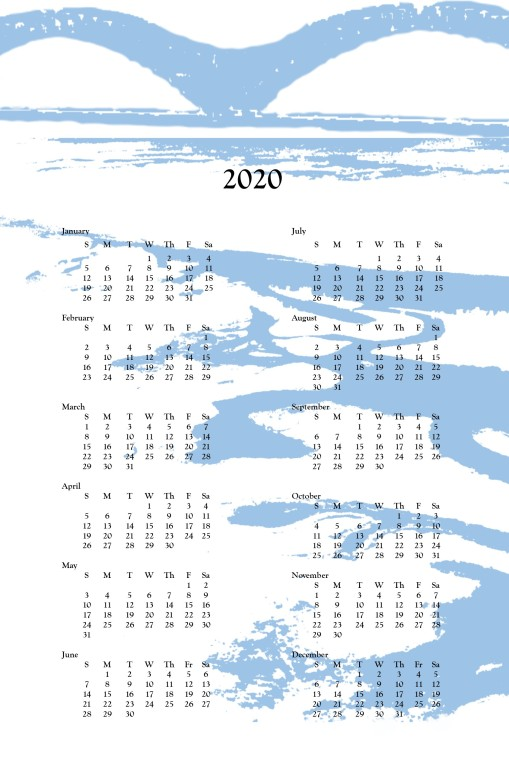 2020 wall calendar - M bridge