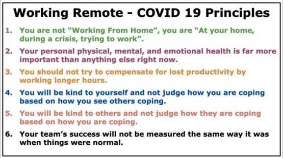 Working Remote - COVID 19 Principles